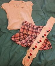 EUC Gymboree New York Girl 6 Puppy Dog Top Plaid Skirt Heart Tights VHTF Rare ♡