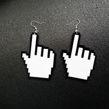 1pair pixelated hand shaped mouse earrings,pixel hand cursor ear rings