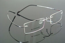 Luxary Pure Titanium Silver Rimless Eyeglass Frame Glasses Spectacles Rx able