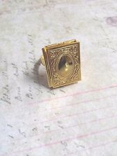 Gold Locket Ring Blank Book Ring Fairy Tale Picture Frame Blank Ring Adjustable