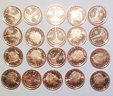 Isle of Man 1 penny pence 2007 20mm coins lot ALL BU UNC 20PCS