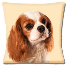 "NEW TAN BROWN WHITE KING CHARLES SPANIEL PHOTO CREAM 16"" Pillow Cushion Cover"