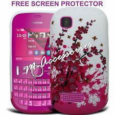 WHITE PINK FLORAL SILICONE/GEL CASE COVER SKIN FOR NOKIA ASHA 200/201 +SP
