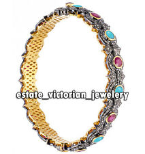 Victorian Estate 7.90Cts Rose Cut Diamond Ruby Turquoise Silver Jewelry Bangle