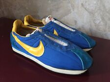 Vintage Nike Blue Yellow Waffle 1970's Running Sneakers -Made in Japan Men's 8.5