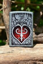 Zippo Lighter - Goth Heart - Gargoyle - Iron Stone Finish - Gothic - Model 28915