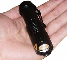 Mini CREE Q5 LED Flashlight 7W 300LM Torch AdjustableFocus Zoom Light Lamp Black