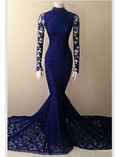 Mermaid Royal Blue Lace Prom Dresses Formal Celebrity Evening Wedding Party Gown