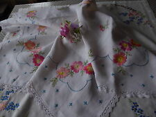 VINTAGE HAND EMBROIDERED LINEN TABLECLOTH EXQUISITE RAISED EMBROIDERY/ROSES