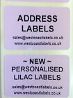 Rolls of Printed Personalised LILAC PRODUCT Labels - 38mm x 25mm