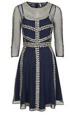 TOPSHOP LIMITED EDITION NAVY BLUE MESH DRESS~PEWTER CHARM FLOWERS ~RRP £150 10