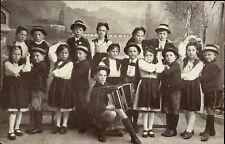 """~1910 Postkarte Kinder Musik-Gruppe Trachten-Verein """"Traunfeer"""" aus Gmunden"""