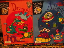 """Spooky Stickers Books """"Dragons""""Aliens"""" Games & Coloring New Unused"""