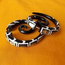 Spiral Shell Inlaid in Black Horn Fake Gauge Earrings Split Plugs Boho Jewelry