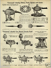 1914 PAPER AD Universal Alcohol Gas Stove Chafing Dish Copper Coffee Parcolator
