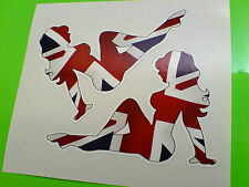 UNION JACK Mudflap Girl Retro Car Hot Rod (Handed) Stickers Decals 2 off 90mm