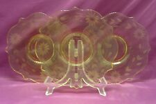 3 Desert Plate Lancaster Jubilee Yellow Etched Depression Glass Vintage