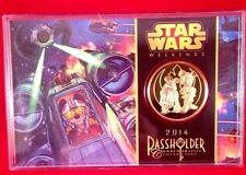 Disney Star Wars Weekends Pass holder 39MM 24KT Gold Plated Coin LE 3000  Sealed