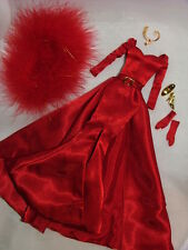 Barbie Glamorous Red Satin Evening Gown ~ Newly De-boxed ~ Free U.S. Ship
