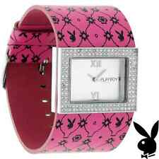 Playboy Watch Bunny Pink Leather Band Swarovski Crystal Stainless Steel Back HTF