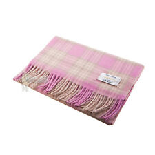 "EDINBURGH - 100% LAMBSWOOL TARTAN SCARF SIZE 60"" x 10"" - PINK & GREEN CHECK"
