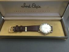 VINTAGE1950s LORD ELGIN 23J 14k GOLD 6 DIAMONDS  MENS WATCH AMAZING CONDITION