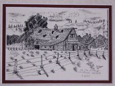 Western Barn Side View Old West Pen and Ink Drawing by Jim Stubbs Inscribed