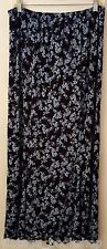 Jaclyn Smith Classic Summer Skirt Long Modest Blue Black Floral Plus Size 1X