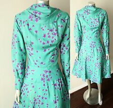 Mod Vintage 50s 60s Blouson Draped Floral Peasant Slv Swing Cocktail Tea Dress