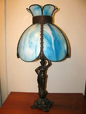 Vtg Art Nouveau Blue Curved Slag Stained Glass w Bronze Female Figure Table Lamp