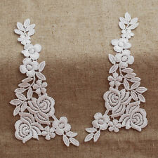 Guipure Lace Motif - Rose Flower Applique - A Pair - Bridal - White - 14cm x 5cm