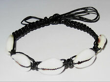 FRIENDSHIP BRACELET BLACK CORD BAND COWRIE SHELL BEADS BEACH FASHION ANKLET NEW