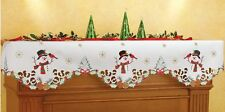 Snowman Cardinal Christmas Winter Snowflake Holiday Mantel Scarf Fireplace Decor