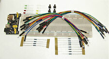 Raspberry Pi Arduino GPIO Basic Starter Kit Breadboard Power Supply Cables LEDs