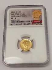 2016 W MERCURY GOLD DIME NGC SP70  FIRST DAY OF ISSUE LOW POP 32 #002