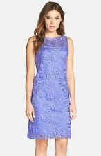 """NWT $458 SUE WONG Sue Wong Embroidered Sheath Dress Periwinkle.SZ:6"""""""