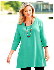 3X 24/26 NWT ULLA POPKEN SWING TIME KNIT TUNIC TROPICAL PACIFIC SEA GREEN $59