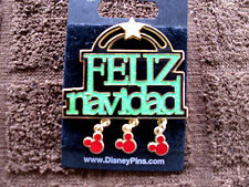 Disney * FELIZ NAVIDAD * Sparkle w/ Ears Icon Dangles * New on Card Holiday Pin