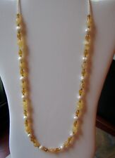 Yellow Agate Handmade Necklace with Freshwater Pearls and Golden Czech Glass