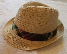 Polo Ralph Lauren Mens Natural Straw Panama Hat with Plaid Band NWT L/XL