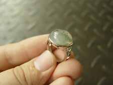 100% Natural Green Moss Agate Aquatic Weeds Agate Jade Cabochon Silver Ring 1233