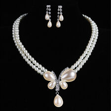 Wedding Bride Party Prom Faux Pearl Pendant Necklace Earrings Jewelry Set Choker