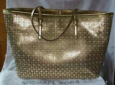 Michael Kors TRAVEL Tote Medium Perforated Leather Gold Metallic Bag AUTHENTIC