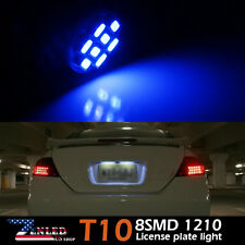 2x License Plate Tag Light 168 920 158 192 W5W T10 8SMD LED Bulbs Blue For Ford