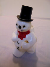 "Christmas Hard Plastic Snowman With Cigar, For Candy, Black Hat, 5"" Tall Vintage"