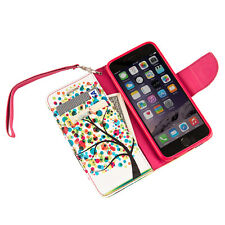Rainbow Tree Design Wristlet Wallet Stand Case Magnetic Cover for Apple iPhone 6