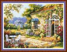 "'PARADISE COTTAGE' Cross Stitch Chart/Pattern (16¾""x12½"") Detailed/Garden/Flower"