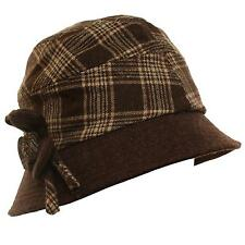 Winter Scottish Plaid Ribbon Bow Crushable Bucket Cloche Flower Hat Cap Brown M