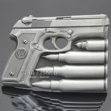Hand Gun & Bullets Men Silver Pistol Military Western Rodeo Texas Belt Buckle
