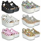 WOMENS LADIES NEW CHUNKY SOLE FLATFORM SUMMER SANDALS WEDGES PLATFORM SHOES SIZE